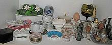 ,Shelf various china and glass items including Spode, Wedgwood and Limoges