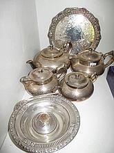 Hardy Brothers silver plated tray & four piece EP tea and coffee serviceand