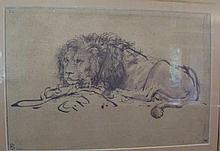 Gilt framed Rembrandt print of a lion 46cms x 54cm including frame