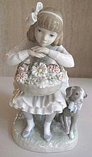 Lladro porcelain figure seated girl with dog 21.5c