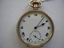 Antique open face gold plated pocket watch No 644055 Moon Dennison Watch Ca