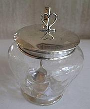 Sterling silver mounted preserve pot with sterling silver spoon measures 11