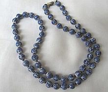 Antique Chinese blue and white porcelain beads
