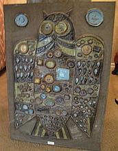 Retro ceramic Owl wall plaque measures 49 x 34cms
