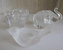 Holmegaard crystal elephant paperweight with Royal Copenhagen crystal candl