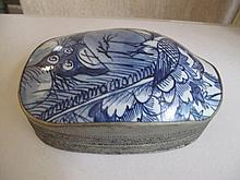 Antique Chinese blue & white porcelain shard box mounted in white metal mea