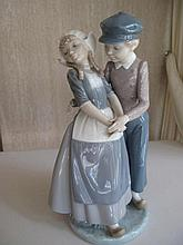 Lladro porcelain figure Dutch girl and Boy 26.5cms