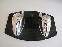 Art Deco chrome black glass desk set 22cms W