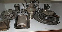 Shelf vintage EP coffee pots and trays etc