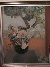 French oil on board Still life Flowers 60cms Ht x 49cms