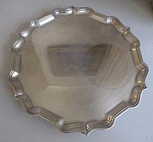 Hardy Bros sterling silver large footed tray hallmarks London 1955 measures