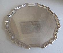 Hardy Bros sterling silver footed tray 25.8cms Dia hallmarks London 1956 we