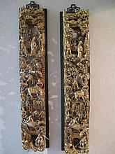 Pair antique Chinese carved gilded wood panels well carved with figures, ho