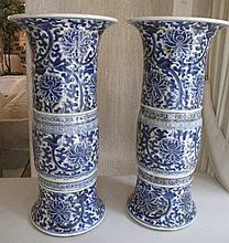 Large pair Chinese blue & white Gu vases late Qing dynasty well potted and