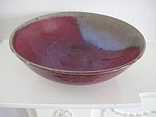 Unusual Chinese Junyao glazed bowl with large