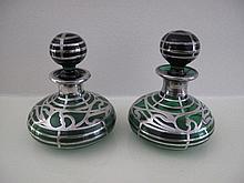 Pair art Nouveau silver overlay green glass