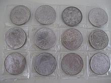 Set of eleven Chinese coins and one Mexican coin