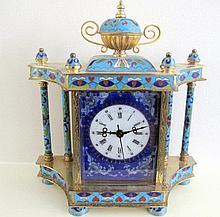 Cloisonne mantle clock measures 23.5cms Ht