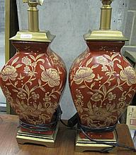 Pair of red gilt ceramic table lamps 36cms Ht