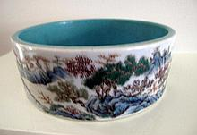 Chinese Famille Rose landscape porcelain brush