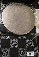 Box Strachan silver plate placemats and coasters