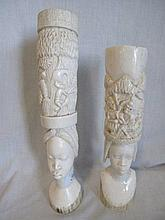 Pair of Nigerian ivory carving of a couple with