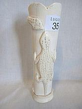 Carved vintage African stem ivory vase with snake