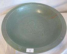 Chinese Ming dynasty celadon glazed charger