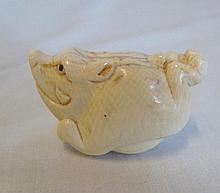 Japanese Ivory Netsuke of a boar