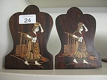 Pair Indian ivory inlaid bookends with lady with