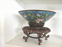 Early Chinese enamel bronze bowl on stand 20cms Ht