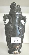 Chinese carved green jade vase brown inclusions