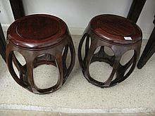 Pair  good Chinese rosewood barrel seats 43cms Ht