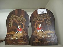 Pair Indian ivory inlaid bookends with lady under
