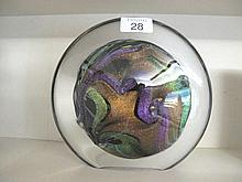 Studio art glass round vase with gold inclusions