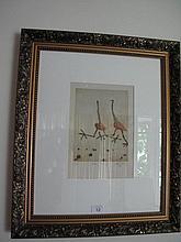 John Olsen gilt framed lithograph Emus