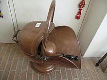 Antique copper coal hod and shovel