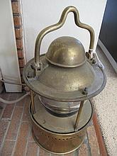 19thC brass ships lantern working order 43cms Ht