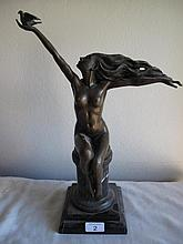 Good bronze art deco style figure of a lady signed