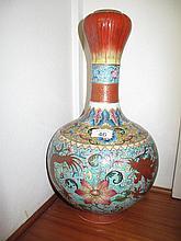 Large Chinese polychrome enamel vase marks to base