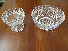 Vintage crystal bowl with small comport