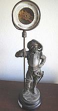 Antique Cavalier figural spelter barometer 42cms