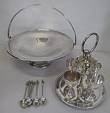 Vintage plated egg stand with cake basket and six