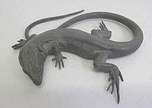 Sterling silver model of a lizard with