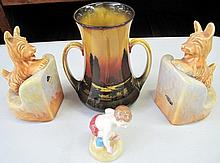 Royal Doulton vase and pair Beswick dog bookends