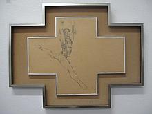 Black pencil sketch Jumping Ballet Dancer signed m