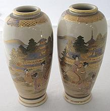 Pair Satsuma vases painted with Bijins in