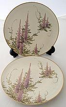Pair Satsuma wisteria plates signed 18.5cms