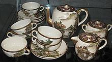19thC Satsuma tea service comprising tea pot