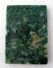 Chinese green jade carving with boy on fish 7.6cms